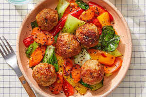 Orange & Ponzu-Glazed Turkey Meatballs with Stir-Fried Vegetables and Furikake