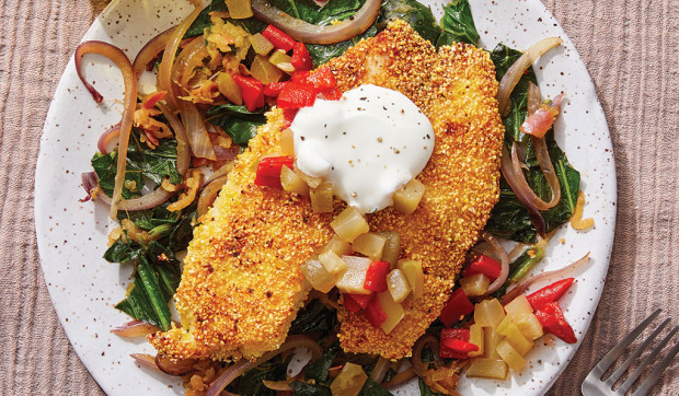 Southern-Style Tilapia & Collard Greens with Piquillo Pepper and Pickle Relish