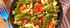 "Vegetable & Freekeh ""Fried Rice"" with Shishito Peppers and Peanuts"