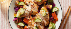 Togarashi Vegetables & Chicken Thighs with Creamy Ponzu-Ranch Dressing