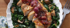 Tuscan-Spiced Pork & Grape Agrodulce with Kale and Mushrooms
