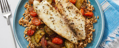 Veracruz-Style Tilapia & Farro with Zucchini, Tomatoes, and Pickled Jalapeño