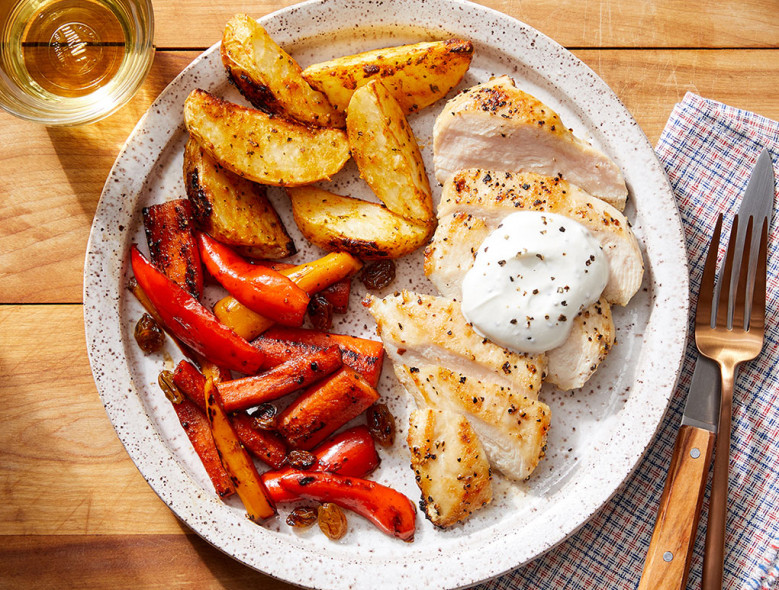 Seared Chicken & Goat Cheese Sauce with Roasted Potatoes and Carrot-Pepper Agrodulce