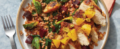 Dukkah-Spiced Chicken & Orange Salsa with Brussels Sprout, Spinach, and Beet Farro