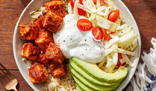 Spicy Chipotle Tofu & Rice Bowls with Avocado and Marinated Vegetables