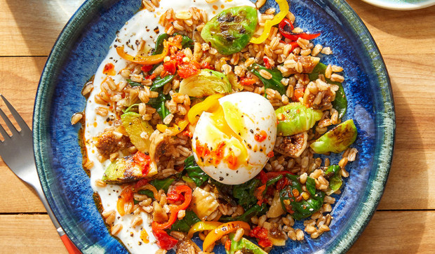 Mediterranean Farro Bowls with Lemon Yogurt and Chili Oil