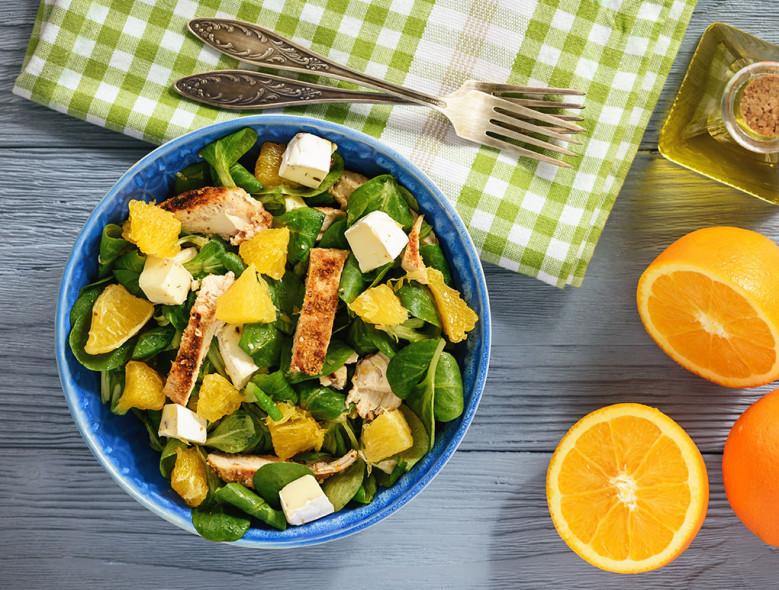 Mandarin, Greens, and Protein Bowl