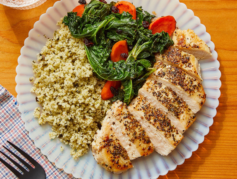 Italian-Style Chicken & Couscous with Carrots, Currants, and Kale