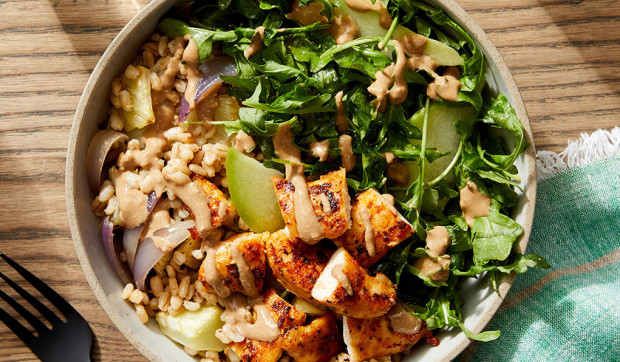 Tahini-Balsamic Chicken Bowls with Barley, Arugula, and Pear