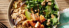 Tahini-Balsamic Chicken Bowls with Barley, Arugula, and Pear