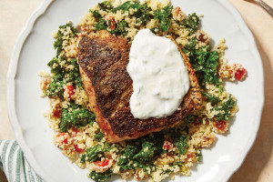 Za'atar-Spiced Salmon with Mediterranean Couscous and Greek Yogurt