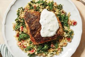 Za'atar-Spiced Salmon with Mediterranean Couscous and Greek Yogurt