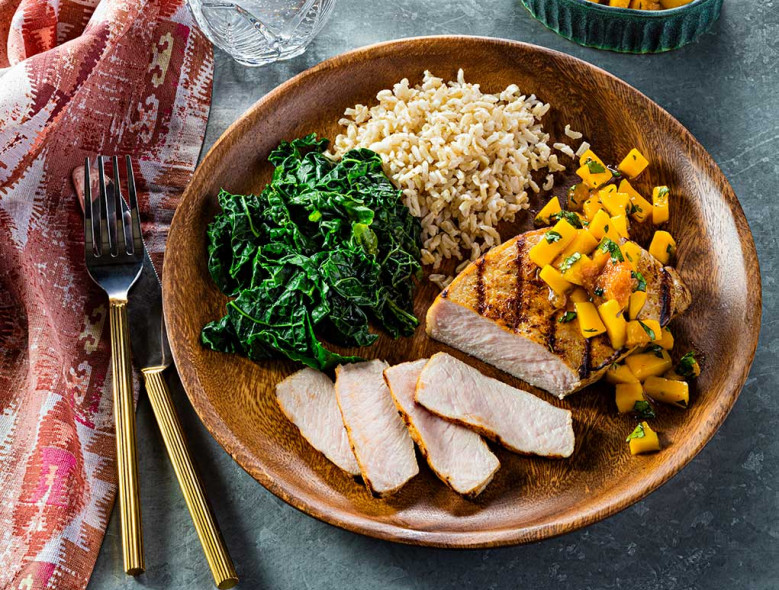 Spicy Pork Chops with Sweet Mango Sauce
