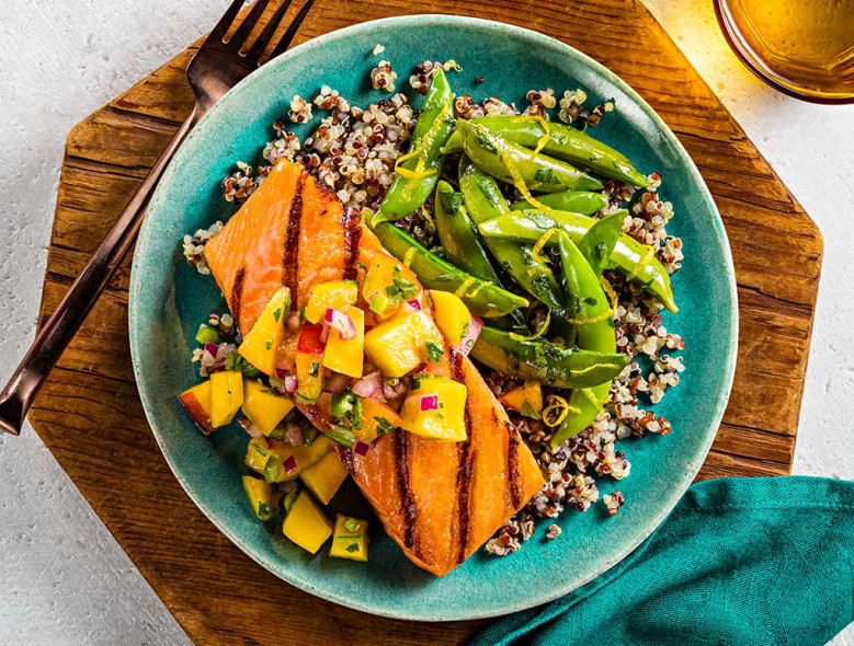 Salmon with Mango and Peach Salsa