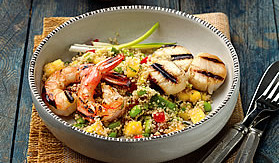 Grilled Seafood and Quinoa Salad with Mango and Avocado