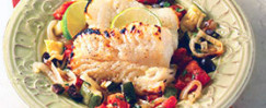 Roasted Cod With Tomatoes, Zucchini, And Olives