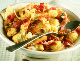 Cauliflower with Pancetta and Onions