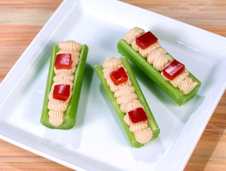Hummus & Red Pepper Celery Logs