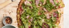 Arugula & Prosciutto Pizza with Zucchini Crust