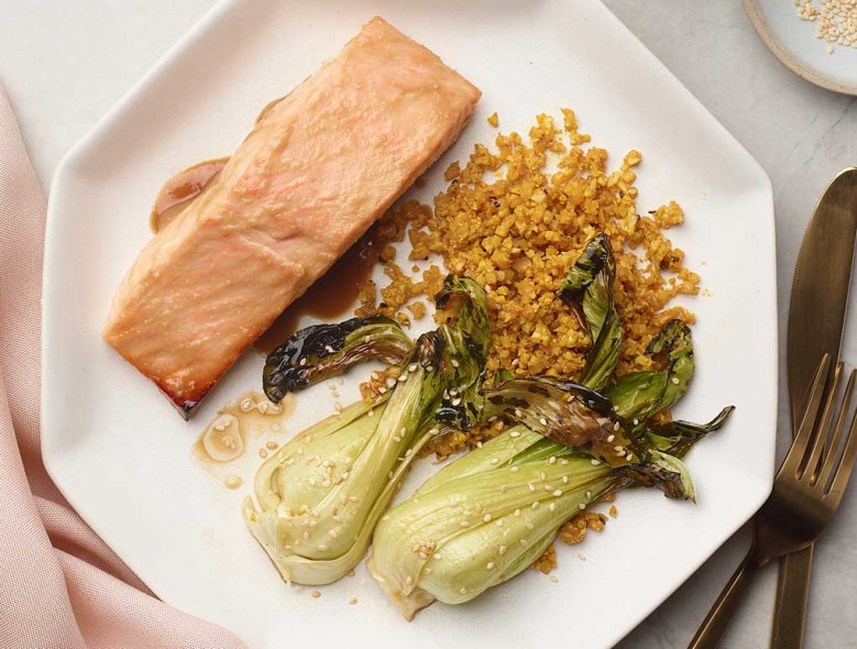Sheet Pan Miso Salmon and Sesame Bok Choy