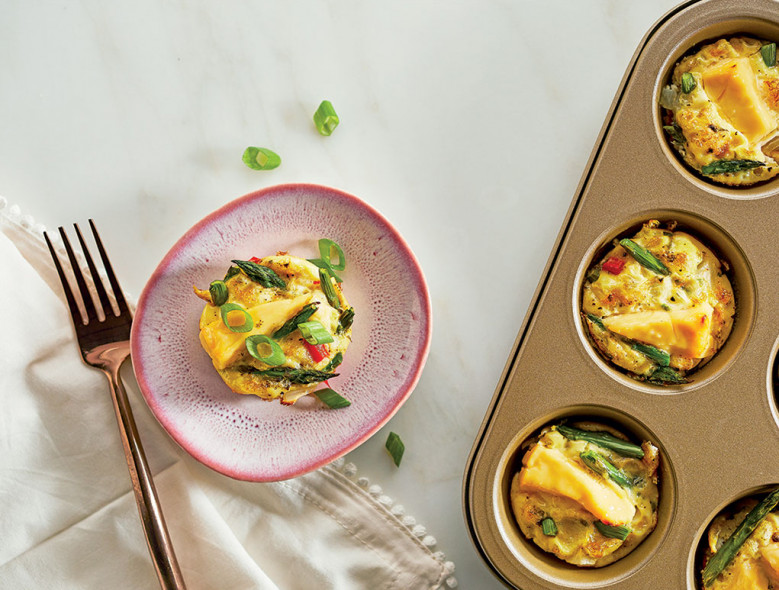 Crustless Asparagus & Pepper Mini Quiche