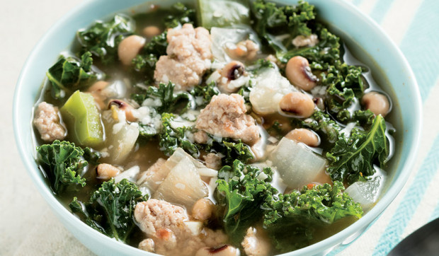 Kale Soup with Turkey and Beans