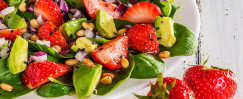 Luscious Avocado-Strawberry Salad With Toasted Pine Nuts