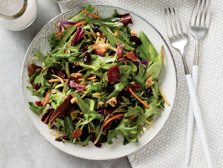 Mixed Greens with Cranberries, Bacon and Walnuts