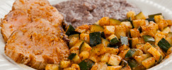 Mole Pork Tenderloin with Zucchini and Refried Black Beans