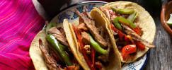 Rajas Poblanos and Skirt Steak Tacos