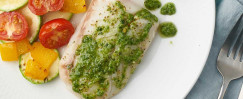 Spinach Pesto Halibut
