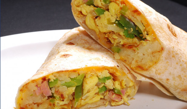 Breakfast Egg and Ham Burrito