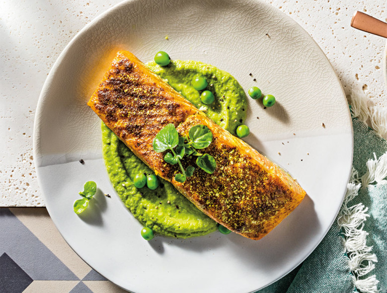 Salmon with Pea Puree