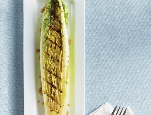 Grilled Romaine Hearts With Champagne-Mustard Vinaigrette