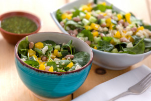 Pinto Bean, Brown Rice and Spinach Salad