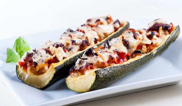 Bruschetta Stuffed Zucchini Boats