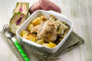 Baked Chicken with Artichoke Topping