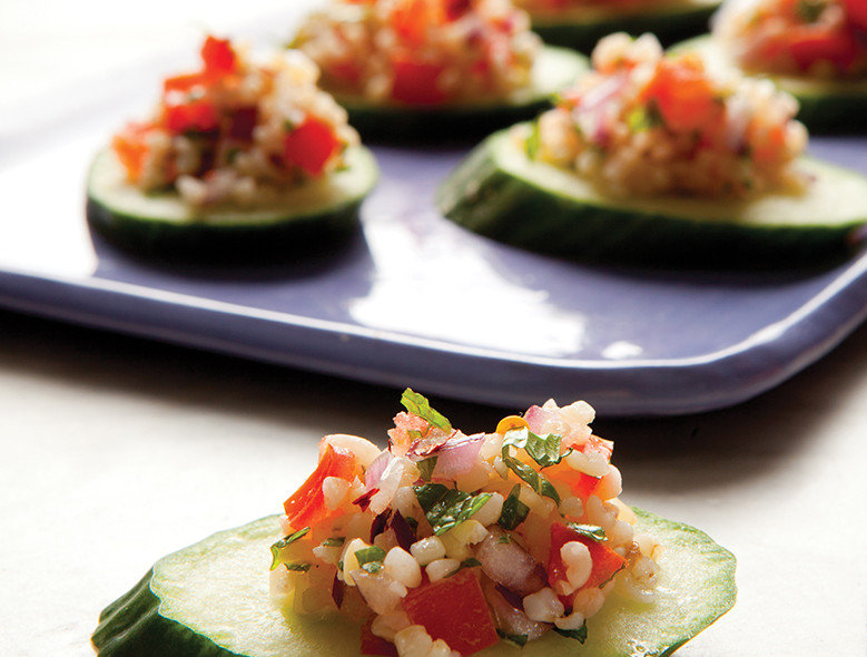 Bulgur, Mint, And Tomatoes On Cucumber Rounds