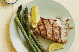 Buttery Lemon Grilled Fish on Grilled Asparagus