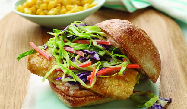Cajun Fish Sandwiches With Crunchy Slaw