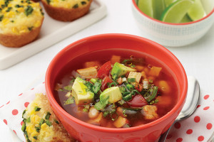 Chicken–White Bean Soup With Fresh Veggie Topper