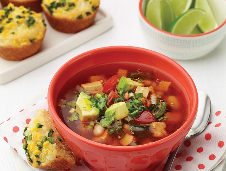 Chicken–White Bean Soup With Fresh Veggie Topper