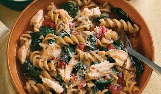 Chicken, Pasta, And Spinach Soup