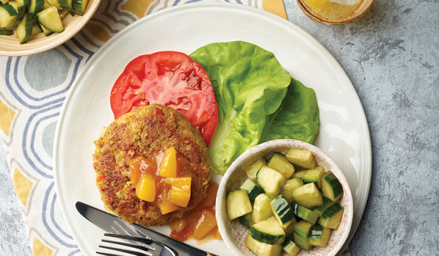 Chickpea Patties With Mango Chutney
