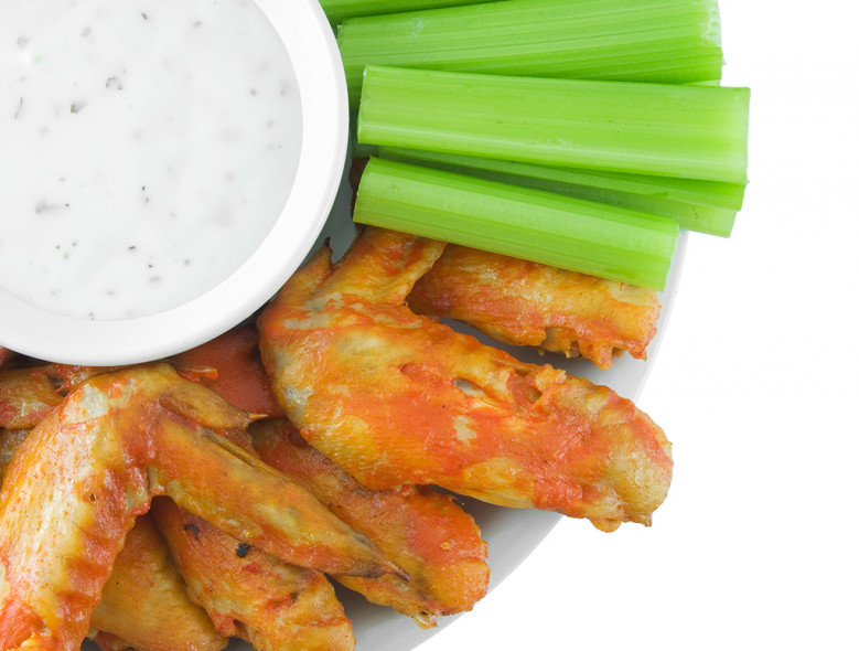 Baked Hot Wings with Cilantro Lime Dip