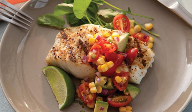 Cod With Avocado Corn Salsa Salad