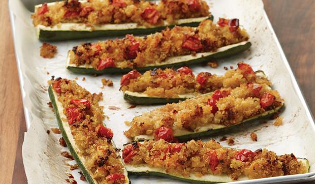 Crunchy Quinoa Stuffed Zucchini