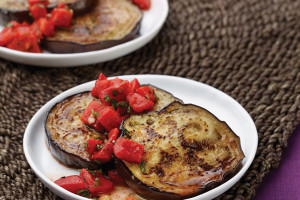 Eggplant With Roasted Red Bell Pepper Relish