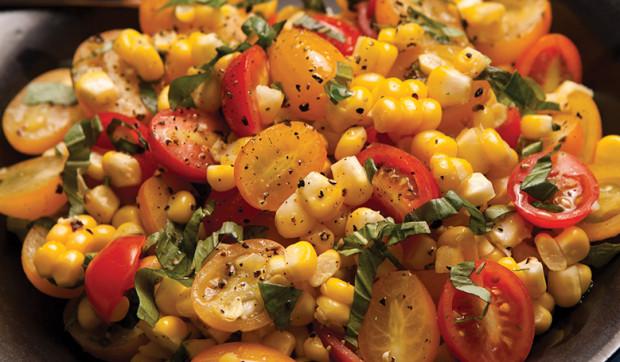 Fresh Corn Salad With Tomatoes And Basil
