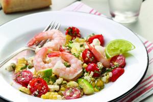 Fresh Corn, Tomato, And Avocado Salad With Shrimp